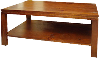 SANTORINI THIN LEG PINE COFFEE TABLE WITH SHELF