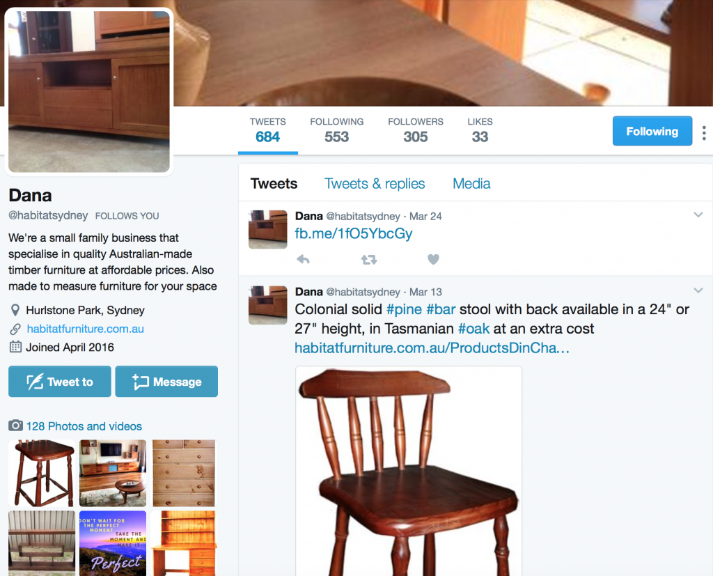 furniture stores twitter social media sydney management